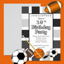 All sports such as basketball, hockey, football and soccer black and white birthday party invitation for kids