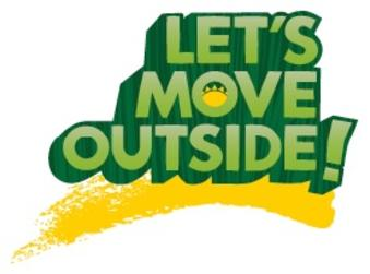 "Square Banner that says ""Lets Move Outside"""