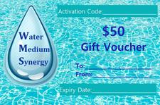 Image of Water Medium Synergy's $50 Gift Voucher which displays the single water drop logo set on a aquamarine water background.