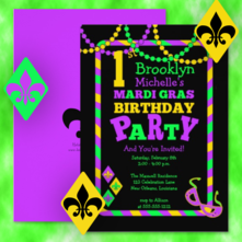 New Orleans style Mardi Gras Birthday Party Invitations for kids at any age