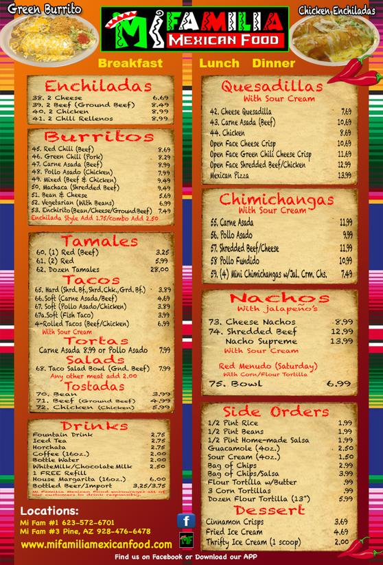 Mexican Food Menu In Spanish