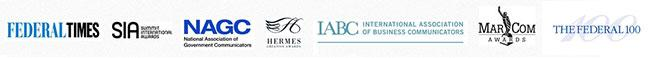 logos for Federal Times, SIA, NAGC, Hermes, IABC, MarCom and The Federal 100