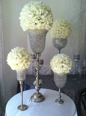 Centerpiece Rental Flowers Ostrich Feathers Crystals