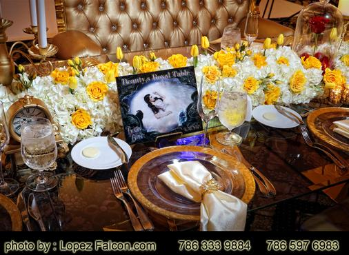 Centerpieces Table Numbers Decorations Flowers Beauty & the beast quinceanera bella y la bestia quinceanera miami Lopez Falcon Quince Photography