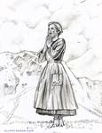Julie Andrews in THE SOUND OF MUSIC drawing by Cliff Carson