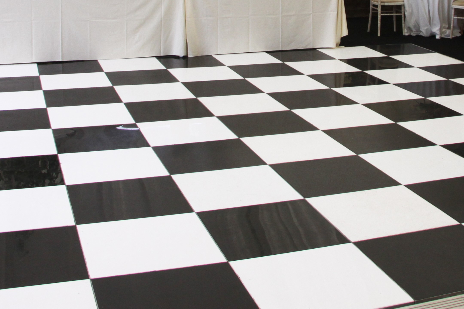 Dance Floors Flooring Staging - Black and white square vinyl flooring