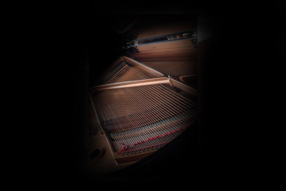 grand piano in dark room