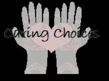 black image with two hands holding a heart with text caring choices