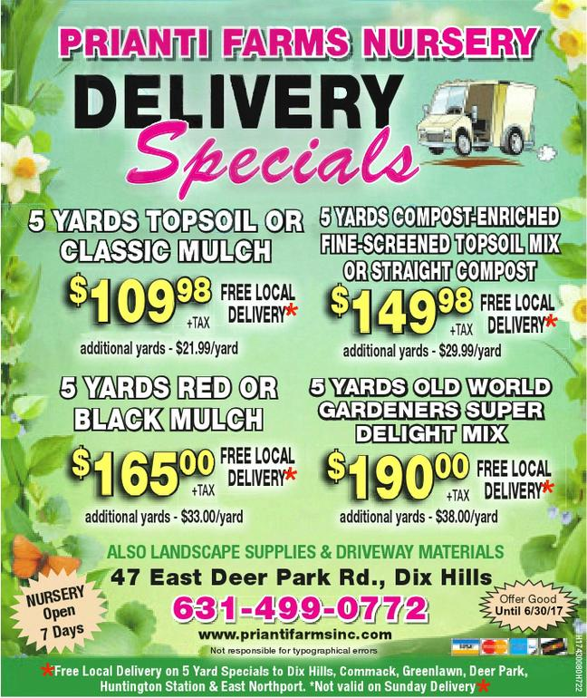 Prianti Mulch Soil Delivery Specials