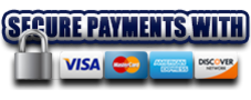 Secure Payments with Visa, Master Card, American Express & Discover