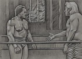 RON SIMMONS shakes hands by CLIFF CARSON