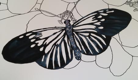 Tracy Harris Silk Painting, Black Dye, Black Gutta, Silk Painting butterfly