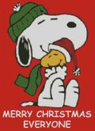 Cross Stitch Chart of Snoopy and Woodstock Merry Christmas