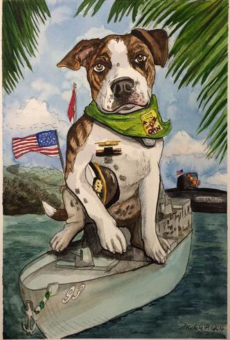 Pet Portrait Marines Dog Navy Military