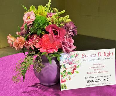 Pink and Purple Wedding Party Centerpiece