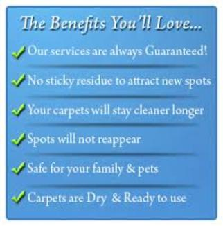 the benefits you will love - services guaranteed - no sticky residue - spots will not reappear - safe for children & pets - carpets are dry and ready to use
