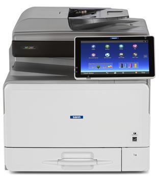 "Savin MP C407 8.5"" x 14"" capable desktop or standalone color multifunction printer/copier, MFP. 42 black and white and 36 color pages per minute print speeds, 42 black and white and 36 color page per minute copy speeds, 80 image per minute scanning speeds, 50-sheet Single Pass Document Feeder with Automatic Duplexing, 10.1"" Smart Operation Panel, 250-sheet Paper Tray plus 100-sheet bypass tray - expandable up to 1,350 sheets. Perfect for small to mid-size workgroups and offices. This office multifunction printer/copier is sold by Cedar Rapids Photo Copy, Inc. (CRPC, Inc.) in Cedar Rapids, IA. The Corridor and Eastern Iowa's local office printing technology and general office technology experts since 1965."