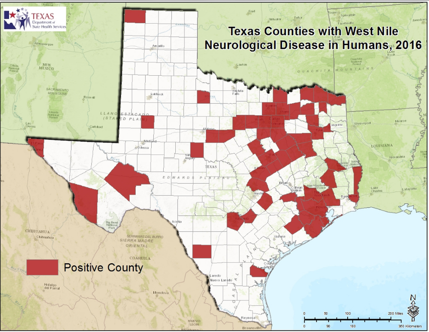 Texas DSHS Map of West Nile Virus Neuroinvasive Disease Counties