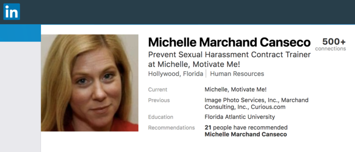 LinkedIn profile of Michelle Marchand Canseco of Michelle, Motivate Me!