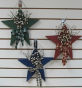 Wood Stars with Berries Hanging Signs
