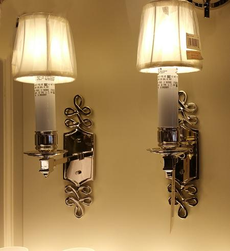 New Nickel chrome pair wall sconces fixtures with silk shades electric white candle sleeves and white eggshell shades for wall mount