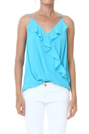Aqua Ruffled Surplice Top