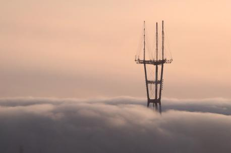 sutro tower covered by clouds