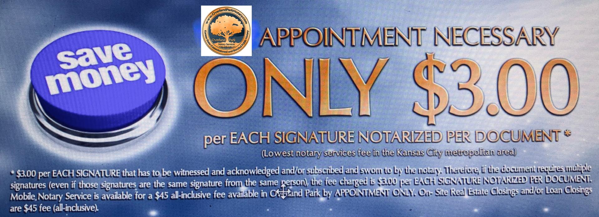Notary Public - Overland Park Three Dollar Notary Service