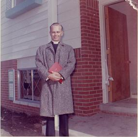 Pastor Jack deRuiter at the November 1961 dedication of the Parsonage