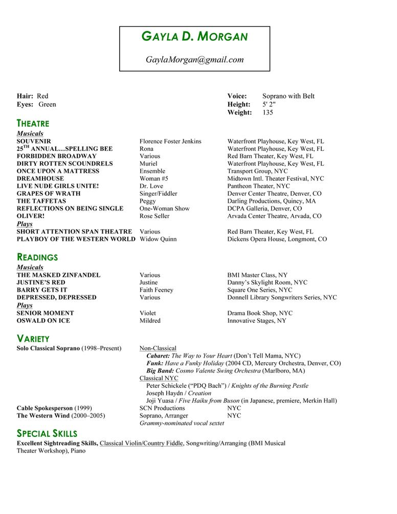 Actor Resume