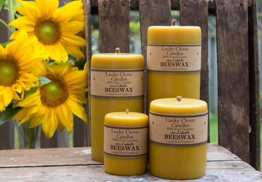 pure Beeswax Candles Lucky Clover Candles smooth pillar hand made in Ontario Beeswax Candles Canada
