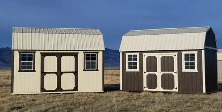 A pair of Weather King side lofted barns, customize your shed with windows and door placement, roof type and paint color.