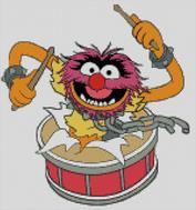 Cross Stitch Pattern Chart of Muppet Animal in Drum