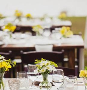 Crosley wedding reception on the lawn with farm style tables