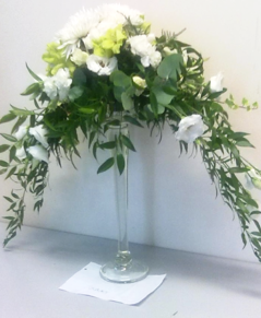White Carnation and Chrysanthemum table arrangement | Flower Arrangements | The Little Flowershop
