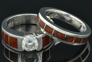 Dinosaur bone engagement ring and wedding band in sterling silver