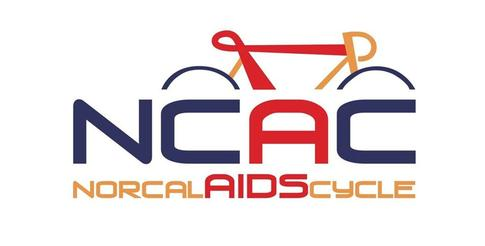 Logo of a bike red blue and orange bike frame with the letters NCAC over words that read NorCal AIDS Cycle