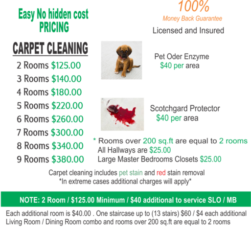 Carpet cleaning prices Paso Robles