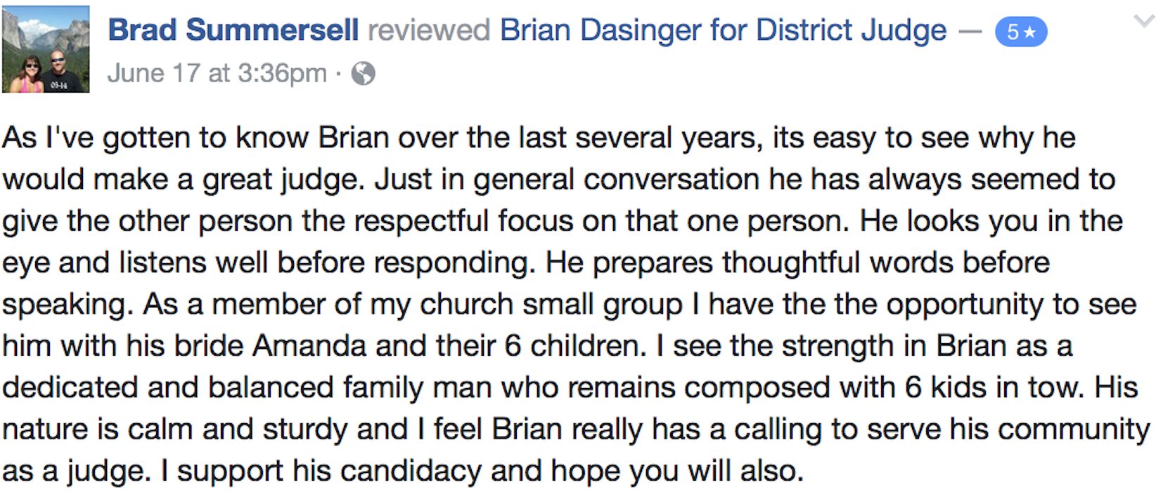 Brian dasinger for district judge judge civil law make a contribution kristyandbryce Gallery
