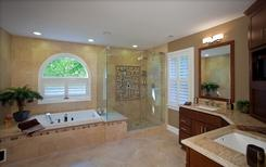 Master bathroom with palladium window gets remodeled