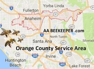 Anaheim Bee Removal Services Map