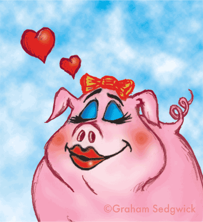 valentines day card passionate pig animal cartoon