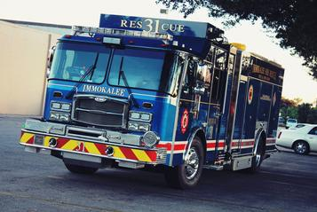 Heavy rescue 31 in a parking lot