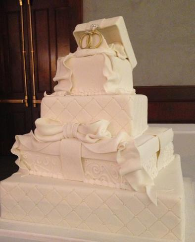 Engagement cake, square, rings, Wedding, gift boxes bowes,