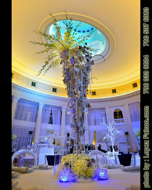 Winter Wonderland Centerpieces table center Quinceanera Party Theme Photography Video westin colonnade hotel coral gables