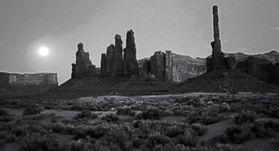 Full moon shines on the Three Sisters, Monument Valley Tribal Park, Navajo Nation, Utah, Photo by Patricia Grady Cox
