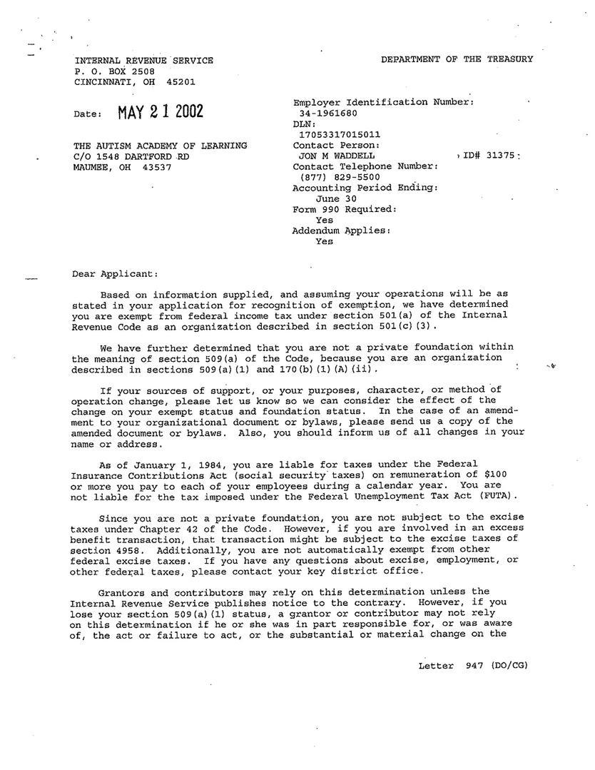 irs non profit letter