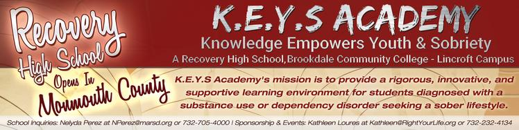 Brookdale Community College KEYS Academy Recovery High School Right Your Life Matawan Aberdeen Regional School District