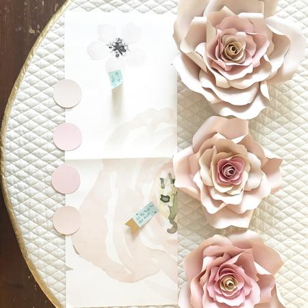 Blush Paper Roses, Blush Paper Flowers, Rose Nursery Decor
