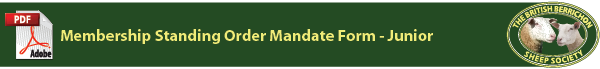 The British Berrichon Sheep Society - Standing Order Mandate Form - Junior